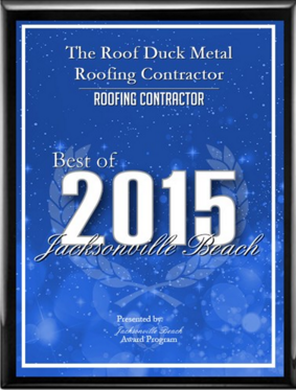 The Roof Duck Metal Roofing Contractor Receives 2015 Best of Jacksonville Beach Award